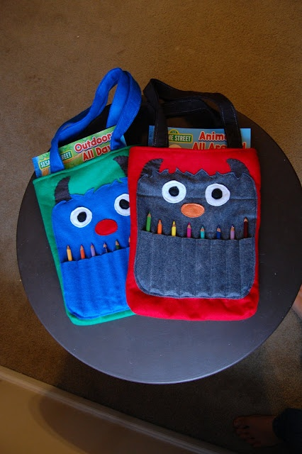 Monster Coloring Totes... if only I had little ones to make these for!