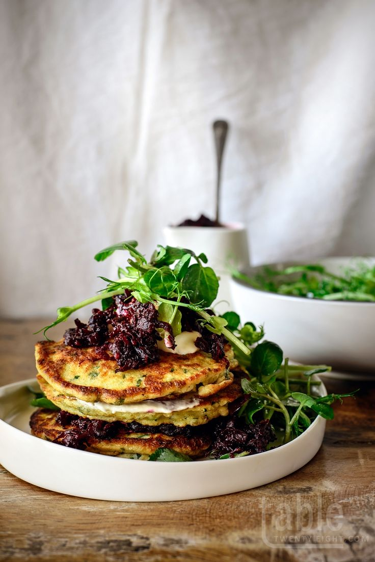 ricotta fritters with beetroot relish & crème fraîche   tabletwentyeight.com