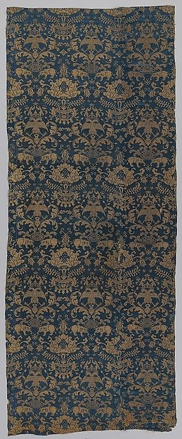 Textile with Elephants, Crowned Double-Headed Eagles, and Flowers Date: second half 16th century Culture: Chinese, for Iberian market Medium: Silk damask Dimensions: 74 1/2 × 29 in. (189.2 × 73.7 cm) Classification: Textiles-Velvets