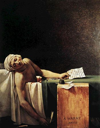 The Death of Marat, oil painting by Jacques-Louis David, 1793.