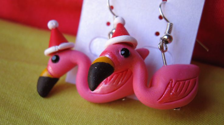 Xmas Flamingo earrings. Handmade by me from polymer clay