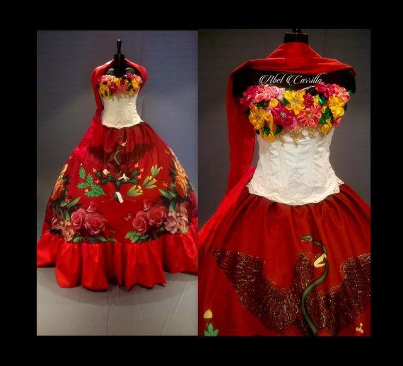 655002065d3 Mexican Quinceañera Dress.Custom Made.Frida Kahlo Inspired Quince  Gown.Mexican Fiesta Dress.Mexican quinceanera.Vestido Mexicano cultural