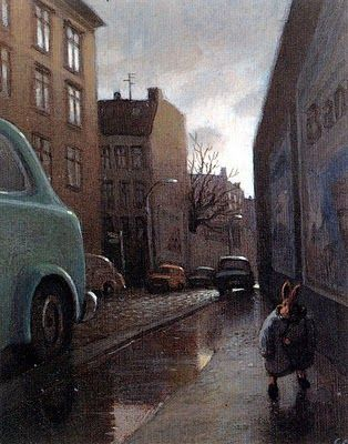 Rabbit on a Rainy Street, Michael Sowa (German Artist)