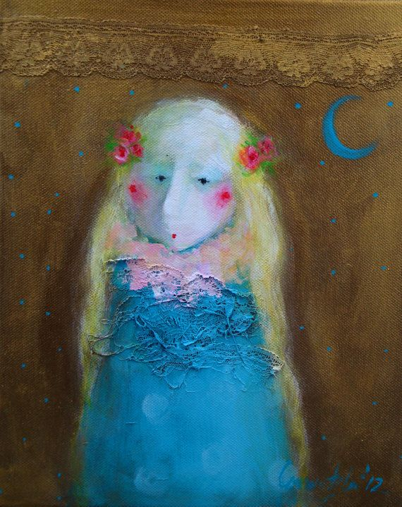 Whimsical Little Girl Painting Cute Adorable Childrens