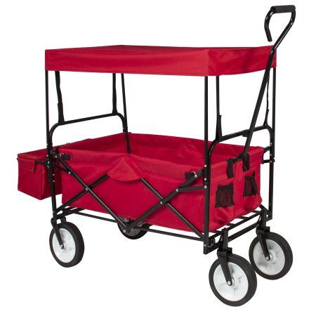 Folding Wagon W/ Canopy Garden Utility Travel Collapsible Cart Outdoor Yard Home - Walmart.com