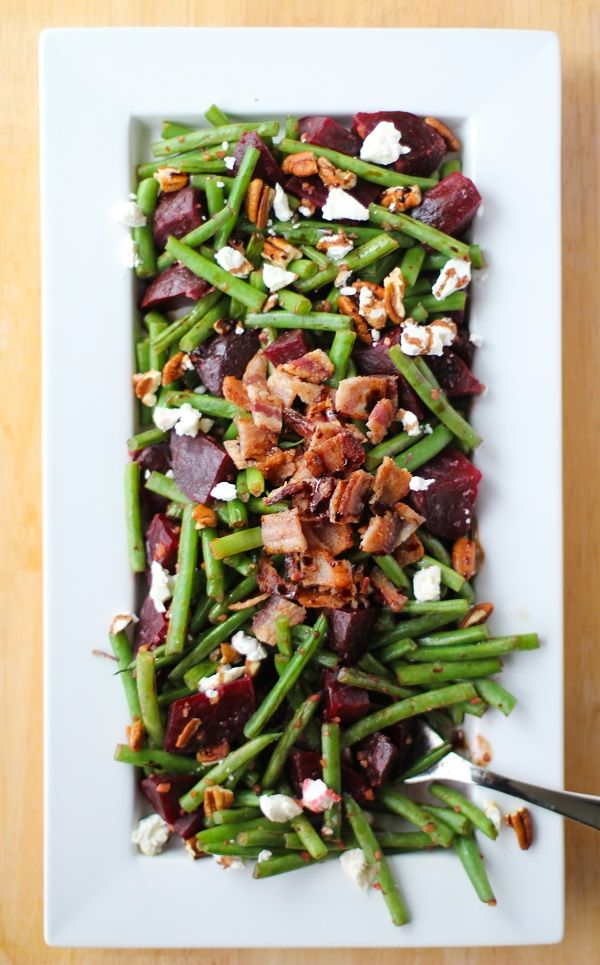 """Sauteed green beans and beets with bacon, pecans, goat cheese, and balsamic reduction. Chitty chitty bang bang! I've been tapping the side disheslike Fred Astaire. Except my version of """"tapping"""" i..."""