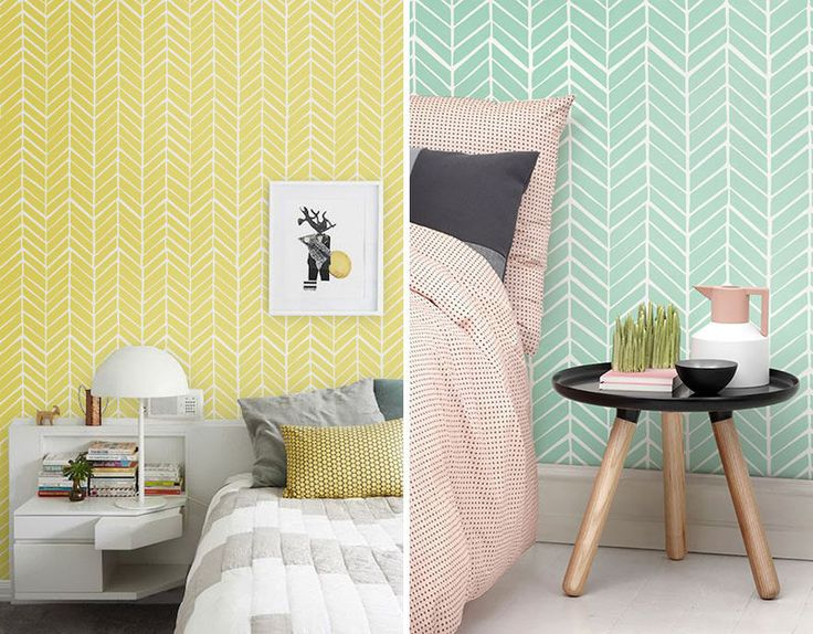Bedroom   Pastel Yellow And Mint Green Chevron Wallpaper Accent Walls