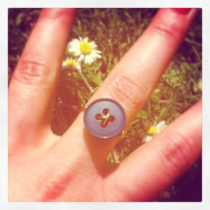 Navy Blue Vintage Button Ring