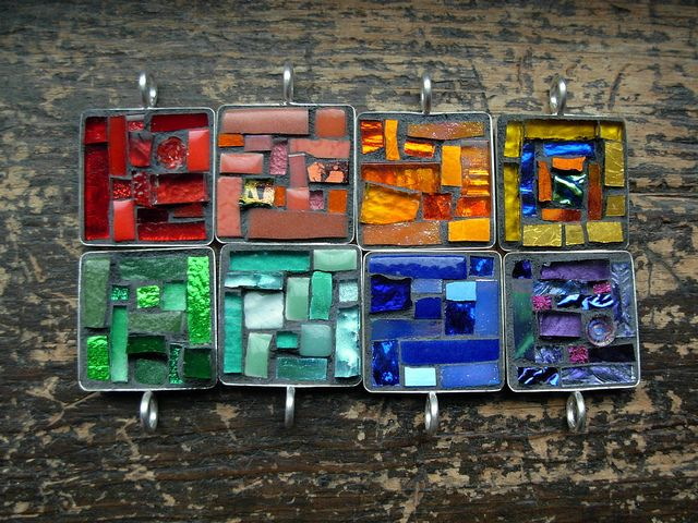 ROYGBV in Mosaic Pendants by Margaret Almon by Nutmeg Designs, via Flickr