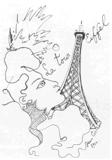 Jean Cocteau, Eiffel Tower #art #drawing #cocteau
