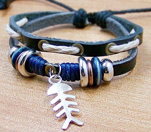 Leather bracelet with fish bonemens bracelet by lifesunshine, $7.50