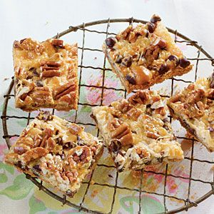 The classic Hello Dolly recipe gets a slight, chocolate-induced makeover in this delicious bar cookie recipe. The salty and sweet ingredients in the recipe make this treat a guaranteed hit at potlucks or neighborhood parties.