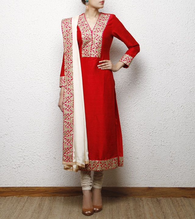 Red Raw Silk Kurta with White Dupatta....Set by House of Qidwa..Try in Different Colour