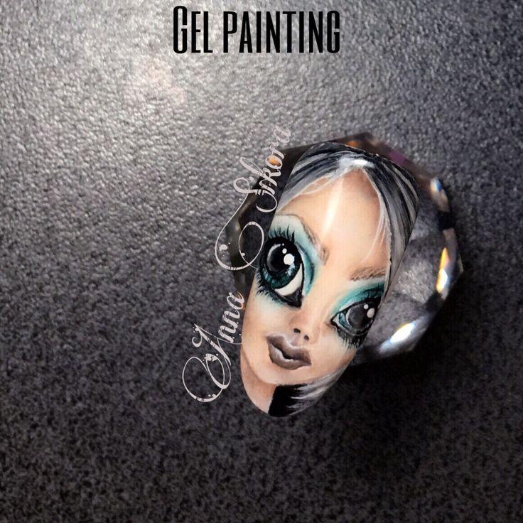Gel painting face fantasy nail art