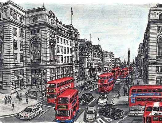 Amazingly talented Stephen Wiltshire - Whitehall, London drawn from memory!