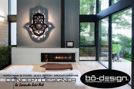 luminaire design concept innovant designer avec ombre portée au mur - modele main de fatima hamsa )