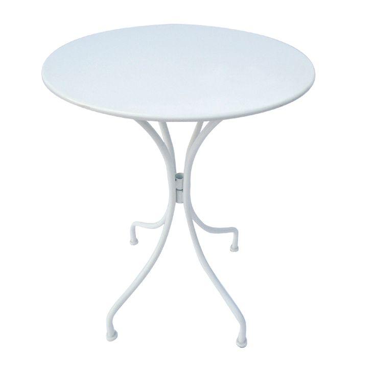 Park garden round table steel white