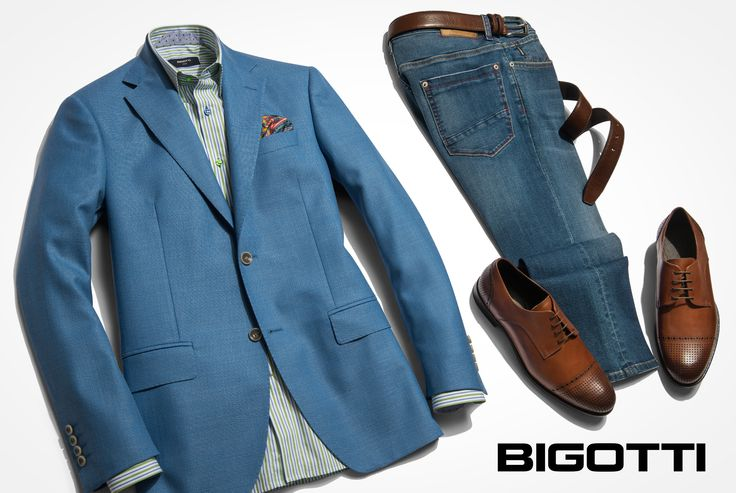 #Italian #style #Classic #pieces ( #blazer) with #jeans and #brown #shoes . www.bigotti.ro