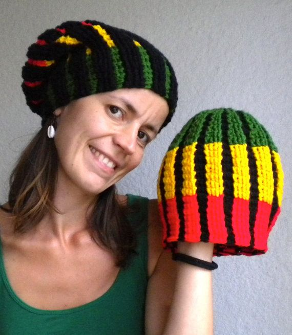 Colorful crochet rasta beanie with green, yellow and red sections and black horizontal stripes. Rasta hat red gold green Jamaican style dreadlocks beanie for men and women, crochet by MultiKultiCrafts, €33.00