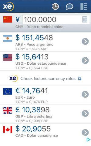 Currency Xe. Es una aplicación gratuita para convertir las divisas. Se actualiza constantemente con el valor de la moneda oficial. Muy útil para negociar y para que te escriban los valores de los productos o servicios.