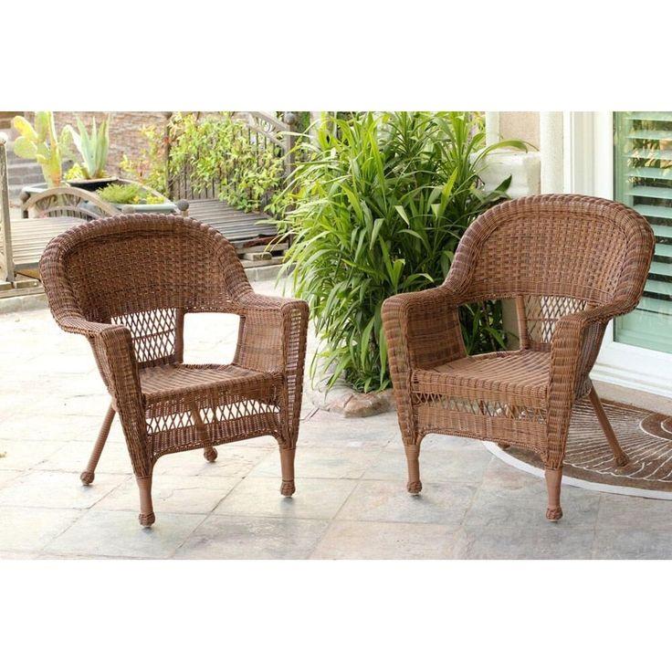 Set Of 4 Honey Brown Resin Wicker Outdoor Patio Garden Chairs, Patio  Furniture