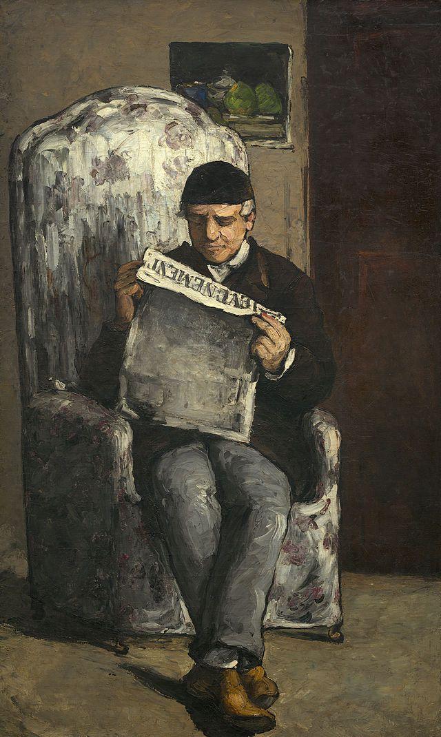 """""""Ritratto di Louis-Auguste Cézanne che legge L'Événement"""", Paul Cézanne,1866; olio su tela,198,5×119,3 cm; il ritratto è esposto presso la National Galleryof Art, Washington D.C."""