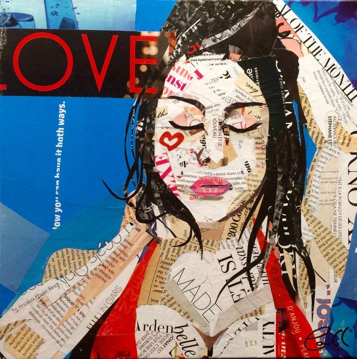 "Artist: Louich! Collage on canvas 2016 ""Ocean Blue Love"" • 12""x 12"" Louich.DeCournoye@gmail.com   #collage #louich #art"