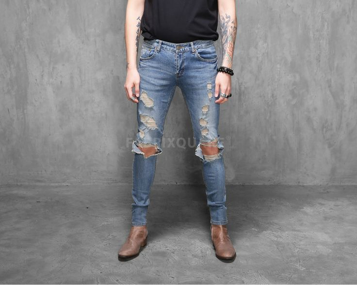 Mens SL Destroyed Denim Skinny Jeans at Fabrixquare $49 - 43 Best Jeans Images On Pinterest Jeans Fashion, Fashion Styles