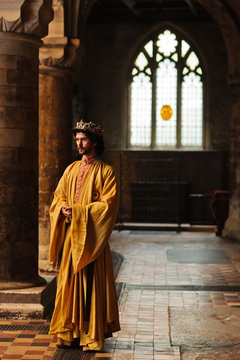 """Let's talk of graves, of worms, and epitaphs; / Make dust our paper and with rainy eyes / Write sorrow on the bosom of the earth."" __Richard II, Act III, Scene 2. Credit: Ben Whishaw, The Hollow Crown: Richard II"