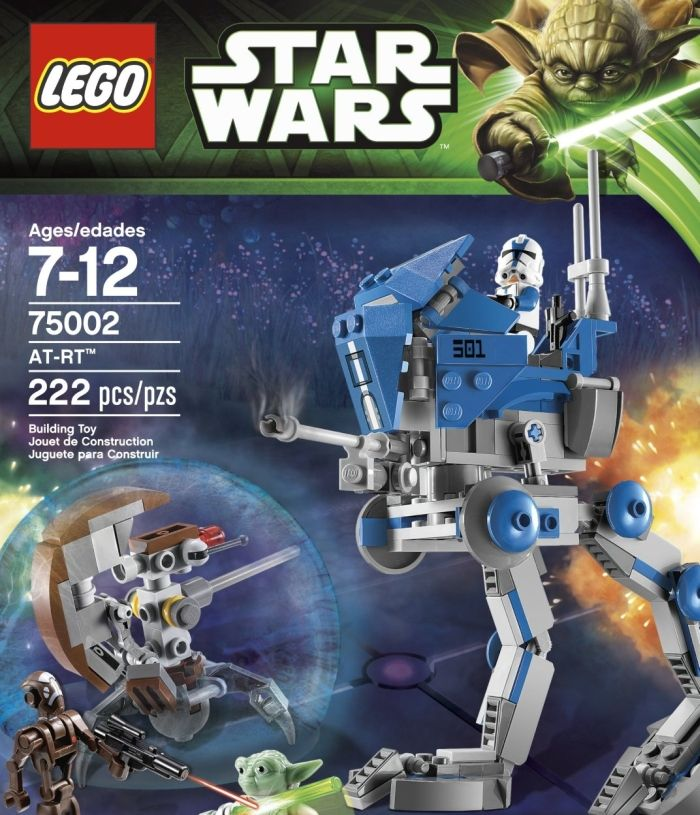 LEGO Star Wars AT-RT. ncludes Sniper Droid and 3 minifigures with assorted weapons: Star Wars: The Clone Wars edition Yoda, 501st Clone Trooper and Droid captain.  Features articulated legs and feet, swiveling laser cannon and blaster storage.Price: $19.97