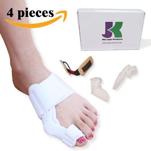 DR JK- Bunion Corrector and Bunion Relief kit for Hallux Valgus & Bunion Treatment. Bunion Protector, Bunion Corrector, Bunion Pads, Toe Spacer, Toe Separators, Bunion Splint, Toe Straightener