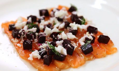 Bruno Loubet's cured salmon with beetroot and horseradish snow recipe