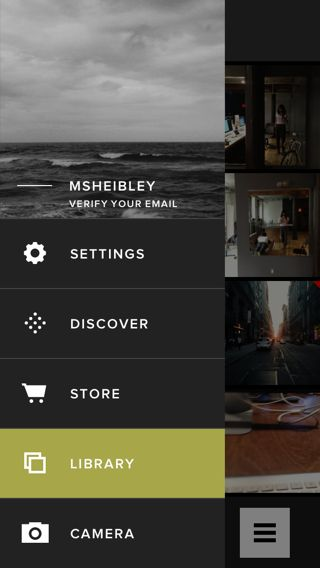 Screenshot of the custom navigation in the VSCO iPhone app (source…