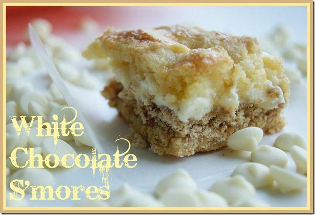 White Chocolate S'mores Gooey Cake Bars   Baking   Pinterest