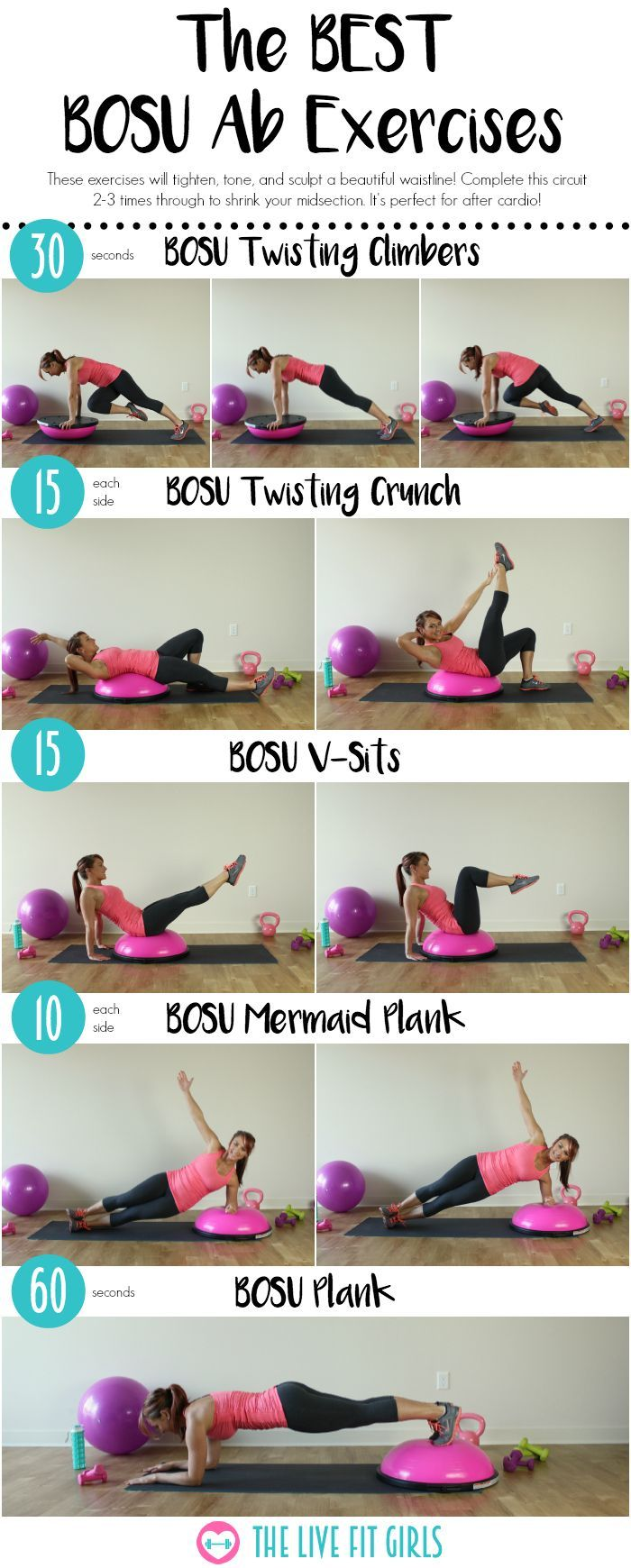 The BEST Bosu Ab Workout...get those abs firing with these 5 BOSU exercises