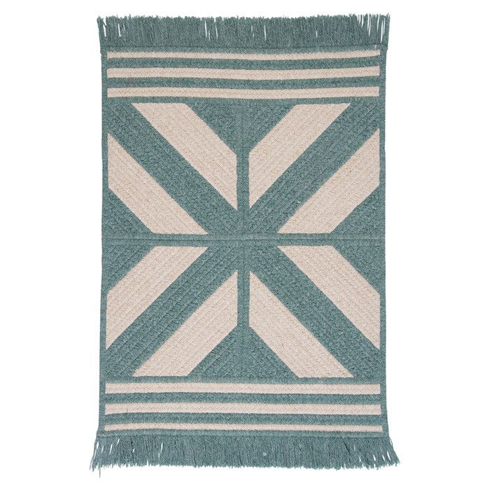 Sedona Rug in Teal Mint and White