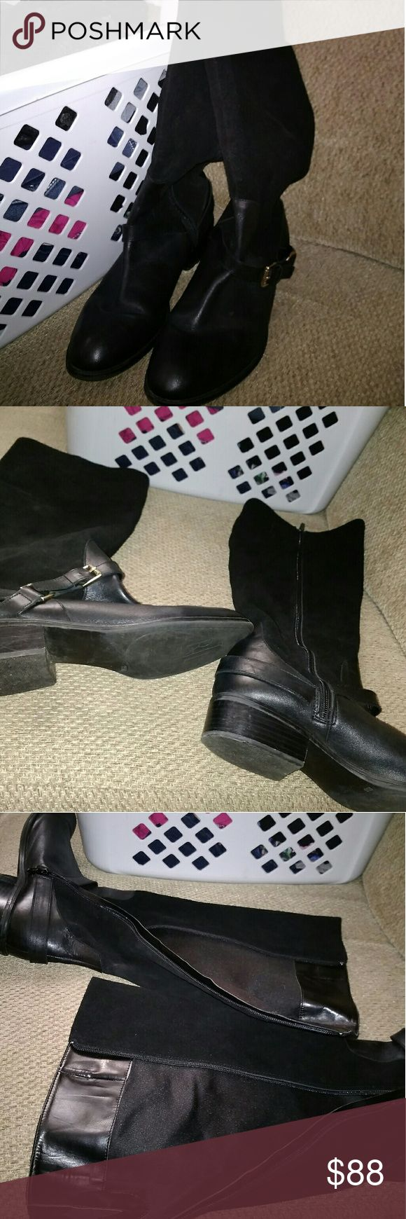 Black Ralph Lauren Boots Zip on the side with low heels.  No problems with zipping them up. Ralph Lauren Shoes Combat & Moto Boots