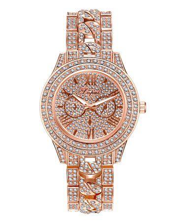 Loving this Rose Gold Panarea Figaro Band Watch With Swarovski® Crystals on #zulily! #zulilyfinds