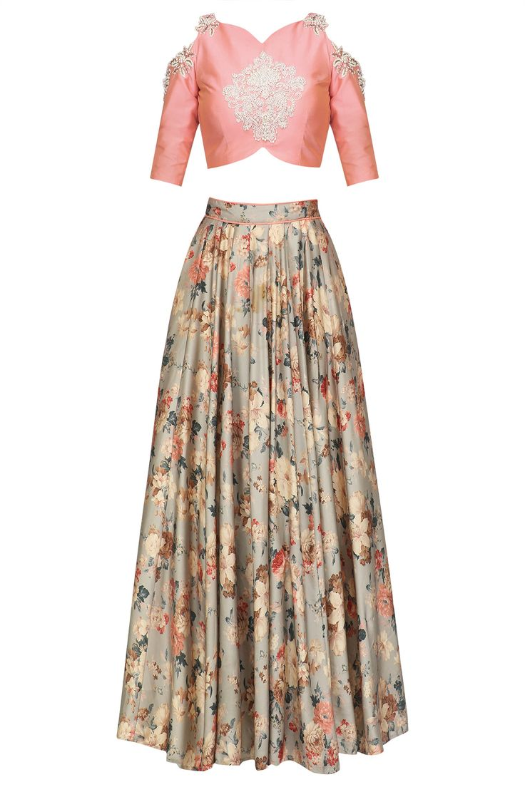 Vintage affaire floral lehenga set available only at Pernia's Pop Up shop.