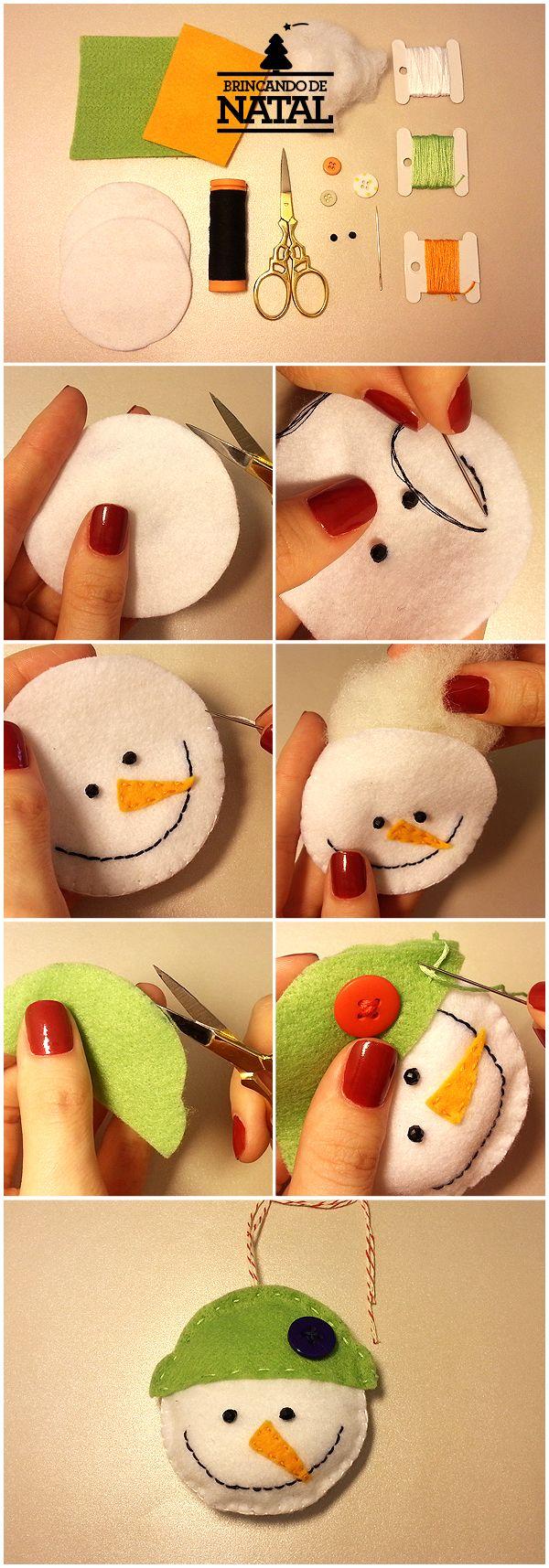 Como fazer um boneco de neve de feltro.