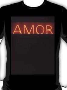 Neon light sign Amor love in Spanish on black medium format film analogue photo T-Shirt