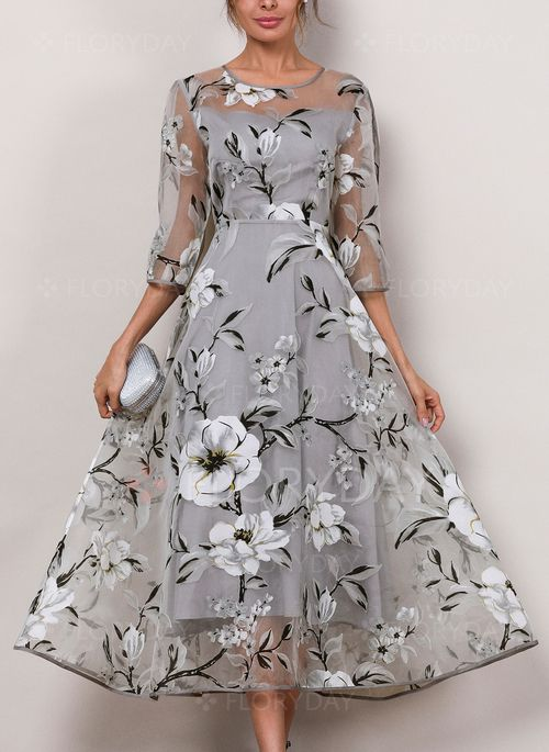 70820997448 Bridal Shower Dress -  63.99 - Floral 3 4 Sleeves Midi A-line Dress  (1955189432)
