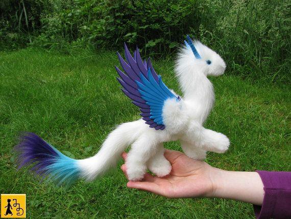 dragon posable doll angel wings ceramic eyes by StudioSterna
