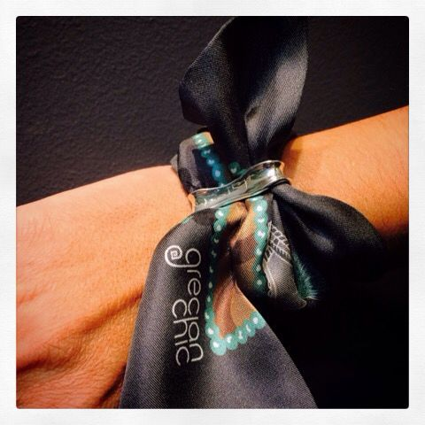 """Be a Greek for a while*"" silk ribbon specially designed for Katerina Ioannidis Contemporary Jewellery, by Grecian chic!"