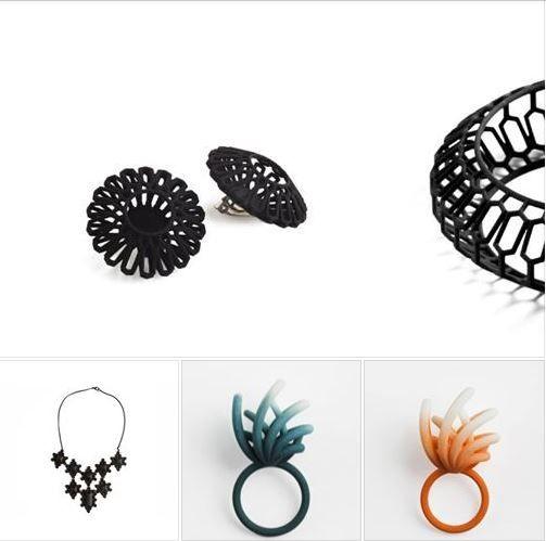 Joyería contemporánea realizada con impresión 3D.  Una línea de joyas originales que reinterpreta las formas tradicionales.  El material empleado es nylon, ligero, pero muy resistente y flexible.  Más información en: http://esnob.eu/
