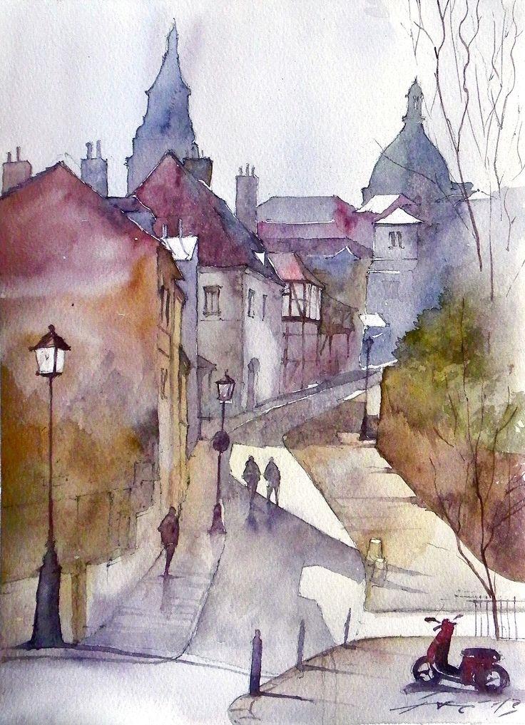French street, based on D.Curtis painting. Watercolour / Francuska uliczka, na podstawie obrazu D.Curtisa. Akwarela pokazowa wykonana na zajęciach w pracowni DOMIN Poznań.