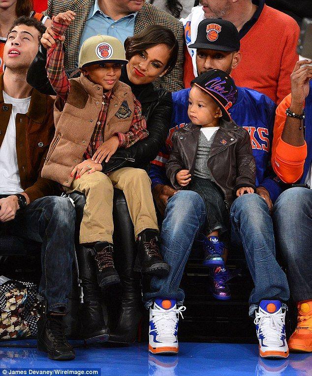 New Yorkers: Alicia Keys and husband Swizz Beatz take their family to watch the New York Nicks on Friday