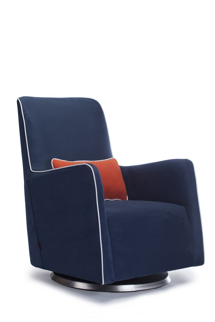 Little castle transition white leather swivel glider - Grazia Swivel Glider In Navy Blue With White Piping And Orange Pillow