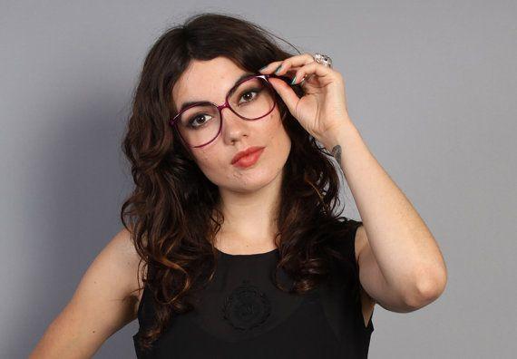 80s purple oversized glasses transparent plastic eyeglasses frames eyeglasses plastic and vintage