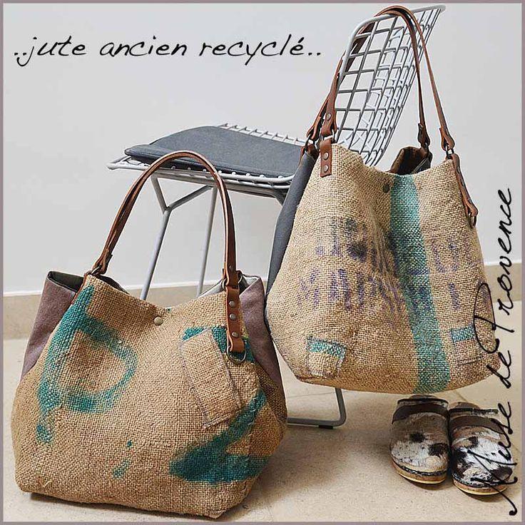 Cabas en jute ancien recyclé by Muse de Provence